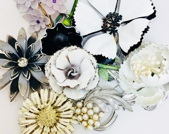 Vintage Enamel Flower Brooch Lot Of 9 Black & White Silver 3D 4D 1950s Mid Century Retro Art Deco Bridal Bouquet Wear Re purpose Floral