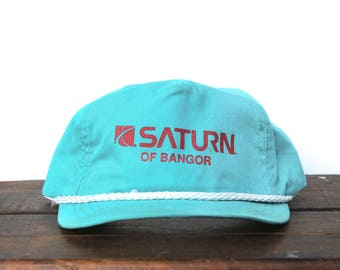 Trucker Hat Vintage Snapback Hat Baseball Cap Bangor Maine Saturn Car Dealership GM New England Teal Turquoise