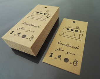 Handmade for You Tag - 50pcs Kraft Tags Paper Tag Hang Tags Gift Tags Brown Tag with Hole 5.8cm x 2.7cm