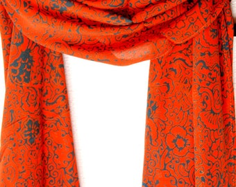 Chiffon Scarf Women's Batik Scarf - Orange & Blue Long Scarf Super Soft Rayon Chiffon Scarf - Beach Sarong - Short Chiffon Sarong or Scarf