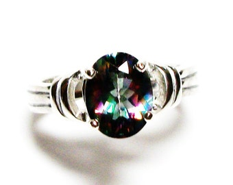 """Rainbow mystic topaz, topaz ring, rainbow ring, blue green pink ring, solitaire ring, s 6 1/4  """"Garden Party"""""""
