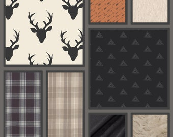 Deer Baby Bedding-Woodland Nursery-Stag, Arrows,-Black,white,tan,rust-Crib Skirt, Minky Blanket - Baby or Toddler Bedding Sets