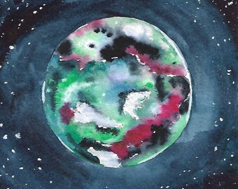 Original Planet Watercolor Small Art