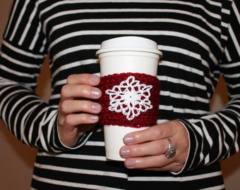 Snowflake Crochet Coffee Sleeve / Trendy Reusable Coffee Jacket / Holiday Beverage Insulator