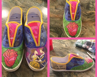 Beauty and The Beast Themed Custom Painted Shoes