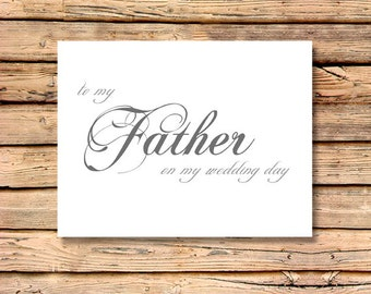 To My Father on My Wedding Day / Wedding Sentiments / Brides Wedding Notes / Grooms Wedding Note Card / Wedding Day Sentiments Notecard