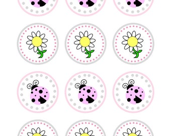 Pink Ladybug Cupcake Toppers, Instant Download, Birthday, Party Supplies