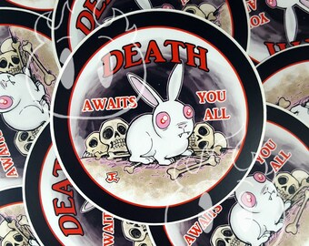 Monty Python and the Holy Grail inspired Death Bunny waterproof vinyl sticker