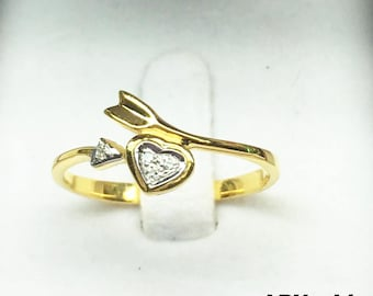 Heart-Arrow with Diamond  0.02 Carat  ring 9k gold,engagement ring, promise ring, wedding ring, bridal ring