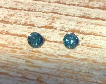 Diamond blue solitaire loose 3MM round perfect match twins Diamonds