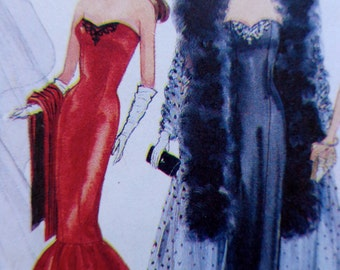 Fashion Doll Clothes Pattern McCalls 7400 Formal Wear Peignoir Set Princess Di style Wedding Dress 60s style Gowns UNCUT