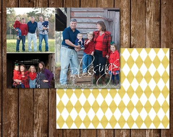 3 Picture Collage Photo Christmas Card with Gold Background
