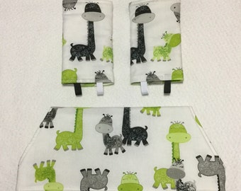 Drool bib and strap covers for front facing baby wearing for Beco, Boba, Ergo, Lillebaby in lime giraffes
