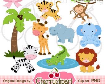 Safari Jungle Animals Digital Clipart Set for-Personal and Commercial Use-Card Design, Scrapbooking, and Web Design