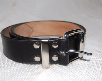 Black leather belt handmade 100% real leather