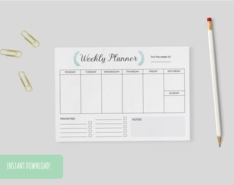 Weekly Planner Wreath A4 Interactive and Printable Files Included INSTANT DOWNLOAD