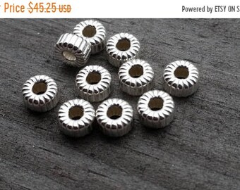 SAVE 20% 100 Pieces Sterling Silver Corrugated Euro Flat Rondelle Beads 6.5x3x2mm Hole MADE In USA