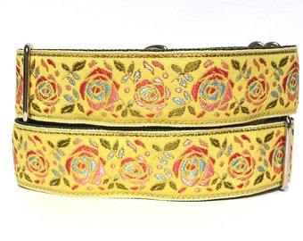"""martingale, dog collar, 1.5"""" wide, BUTTERCUP, yellow floral roses, greyhound collar, sighthound collar, adjustable, training collar"""