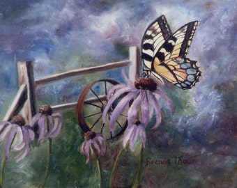 Butterfly Corn Flowers and Fence Original 8x10 Oil Painting