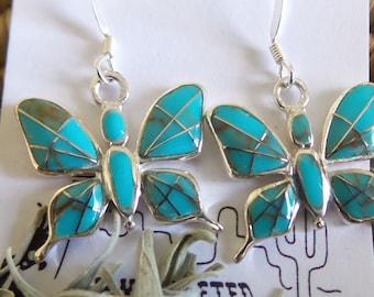 Southwest Sterling Silver Turquoise Butterfly Earrings