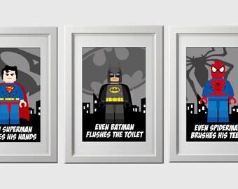 superhero bathroom prints, instant download, set of 3, high resolution superhero bathroom wall prints, spiderman batman superman room art