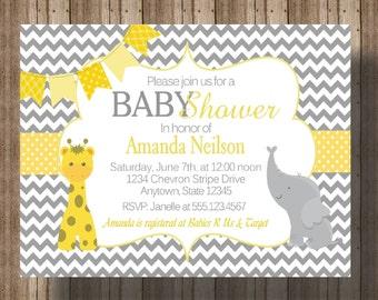 BABY SHOWER INVITATION Chevron Yellow and Gray Elephant and Giraffe   Gender Neutral Baby Shower Invitation   Jungle Animal Baby Shower Zoo
