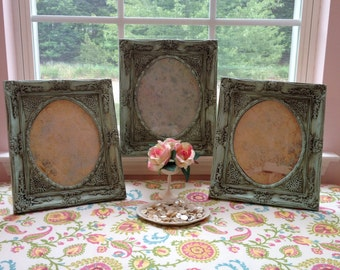 Mint Frames with Oval Center Set of Three, Oval Aqua Frames Set of Three, Upcycled Shabby Chic Frames with Oval Center Set of 3