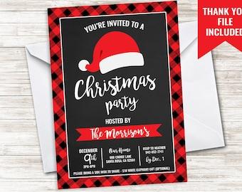 Christmas Party Invitation Invite 5x7 Digital Plaid Holiday Chalkboard Santa Dinner Drink Gift Exchange