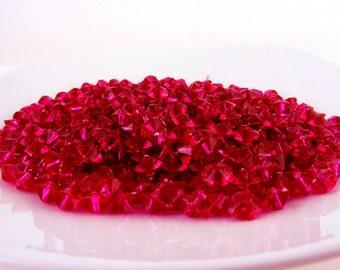 Plastic Bicone Beads Raspberry Magenta Destash Bead Lot .7 oz