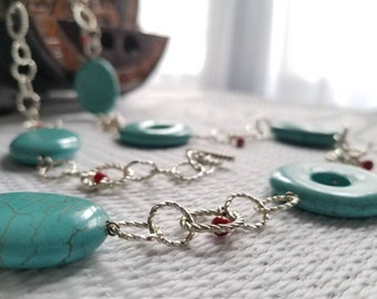 Chalk Turquoise with Red Jade Necklace & Bracelet