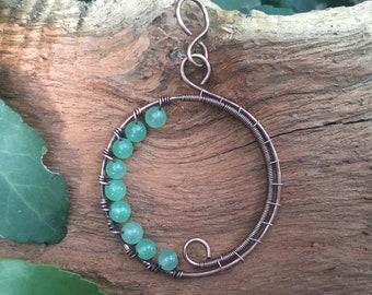 Green Aventurine Wire Circle Pendant