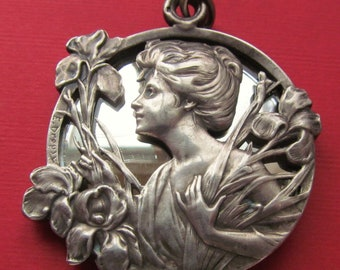 Art Nouveau French Silver Slide Mirror Locket Antique Lady With Iris Pendant Signed E Dropsy