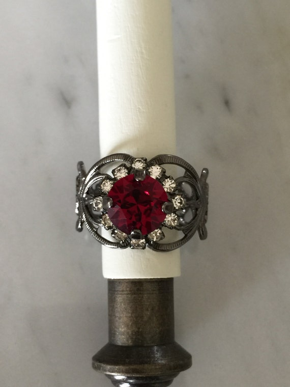 Swarovski Ruby Filigree Ring, Red Crystal Ring, Swarovski Ruby Crystal Ring