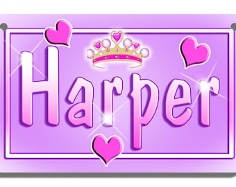 Hearts Tiara Bicycle License Plate Personalized Gifts Girls Teens Ladies Many Colors Crown Princess