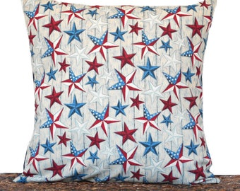 WEEKLY SPECIAL 16.00 Stars Pillow Cover Cushion Patriotic Americana Texas Fourth of July Red White Blue Primitive Rustic Decorative 18x18