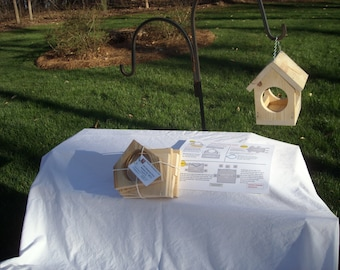 Bird feeder kit; easy assembly- Perfect Christmas Gift!  Chain or post mount; family project; children or senior project; hammer only
