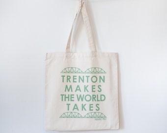 Trenton makes the world takes silkscreen tote bag New Jersey
