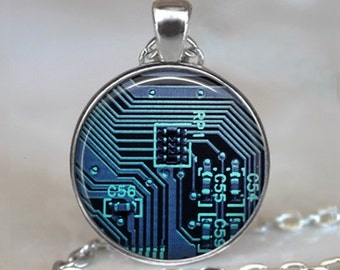 Computer Circuit Board necklace, Computer necklace, Circuit Board pendant, computer geek gift, computer nerd gift, key chain key fob