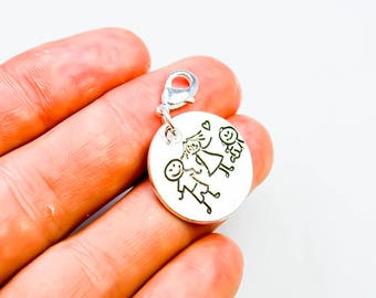 Family Charm - New Baby Charm - Stick Family Charm - Clip On Charm Bracelet Family Charm - SCC62