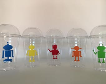 Robot Party Cups, Robot Birthday Party Cups, Robot Baby Shower, Robot Party Favor