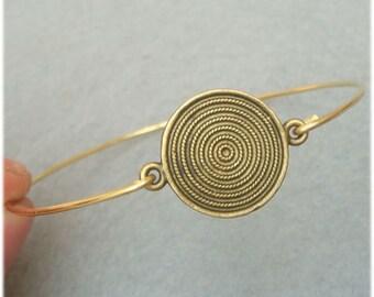 Disc Brass Bangle Bracelet