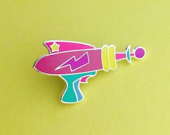 Rainbow Laser Gun Enamel Pin Badge - Retro Ray Gun Lapel Pin