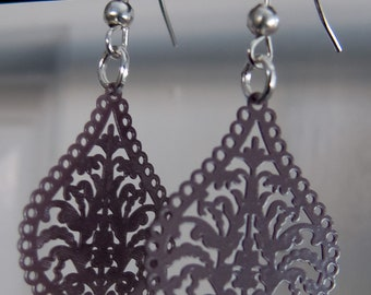 Silver plated brown filigree drop earrings
