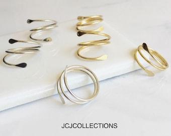 Silver Geometry Ring, Gold Geometry Ring, Wraparound Ring