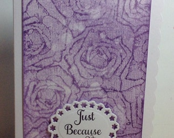Handmade birthday card, just because, all occasion card, greeting card, notelet, purple roses, card for her