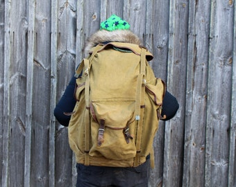 Soviet backpack Soviet vintage rucksack Large vintage backpack Large old knapsack Backpack for fisher hunter Huge vintage backpack