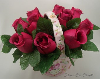 Pink Roses Flower Centerpiece, Table Arrangement in Porcelain basket, Special Occasion Gift