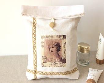 sac à lingerie, Pochette lingerie en lin ancien,dentelle vintage transfert carte postale PARIS,trousse à maquillage,idée cadeau st valentin