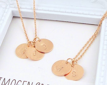 Rose gold Initial necklace, Personalized disc necklace, Round initial disc necklace, dainty rose gold monogram necklace, Bridesmaid Gift