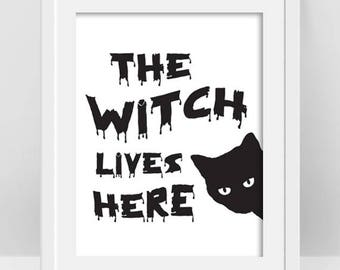 Halloween Black Cat Decor, The Black Cat Print, Cat Poster, Cat Lover Gift, Halloween Decor, Black and White Halloween Printable Witch Quote